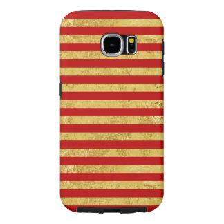 Funda Samsung Galaxy S6 Hoja de oro elegante y modelo rojo de la raya