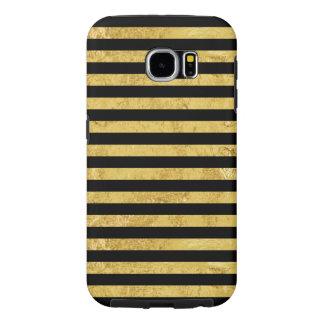 Funda Samsung Galaxy S6 Hoja de oro y modelo elegantes de la raya negra