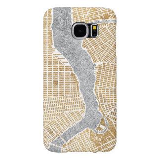 Funda Samsung Galaxy S6 Mapa dorado de la ciudad de Nueva York