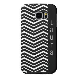 Funda Samsung Galaxy S6 Modelo de zigzag blanco y negro con nombre