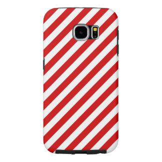 Funda Samsung Galaxy S6 Modelo diagonal rojo y blanco de las rayas