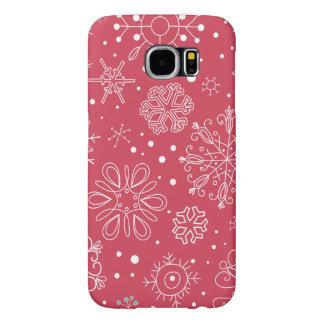 Funda Samsung Galaxy S6 Modelo rojo divertido de los copos de nieve