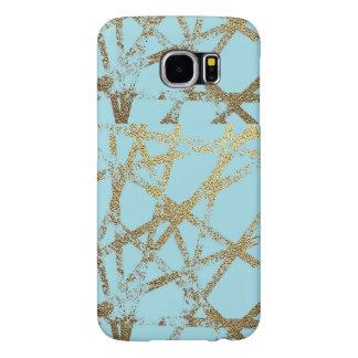 Funda Samsung Galaxy S6 Moderno, abstracto, pintado a mano, el oro alinea