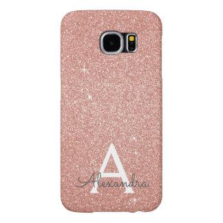 Funda Samsung Galaxy S6 Monograma color de rosa rosado del purpurina y de