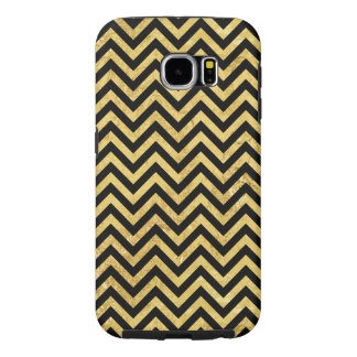 Funda Samsung Galaxy S6 Negro y modelo de Chevron de las rayas del zigzag