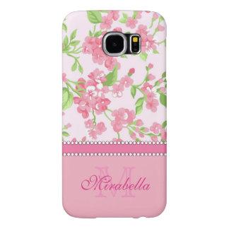 Funda Samsung Galaxy S6 Nombre de ramas rosado del flor de la acuarela de