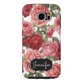 Funda Samsung Galaxy S6 Nombre floral de los rosas rosados elegantes