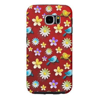 Funda Samsung Galaxy S6 Pájaros y flores de la primavera roja