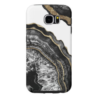 Funda Samsung Galaxy S6 Piedra blanco y negro de Geode de la ágata del oro