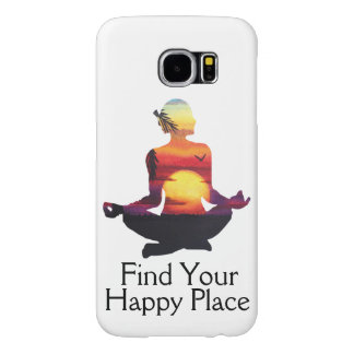 Funda Samsung Galaxy S6 Puesta del sol feliz de la actitud de la yoga del