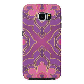 Funda Samsung Galaxy S6 Retro, púrpura, rosas fuertes, oro, floral,