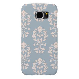 Funda Samsung Galaxy S6 Rosa de LG Ptn II del damasco del corazón en azul