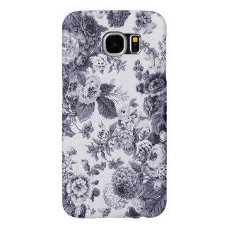 Funda Samsung Galaxy S6 Tela floral No.3 de Toile del vintage azul de la