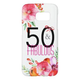 Funda Samsung Galaxy S7 50 y 50.a fiesta de cumpleaños floral fabulosa