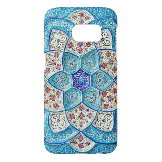 Funda Samsung Galaxy S7 Azules turquesas marroquíes tradicionales, blanco,