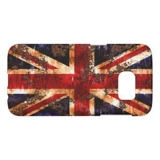 Funda Samsung Galaxy S7 Bandera patriótica aherrumbrada de Reino Unido