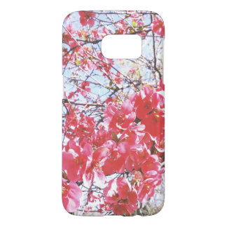 Funda Samsung Galaxy S7 Caja rosada del teléfono de la flor