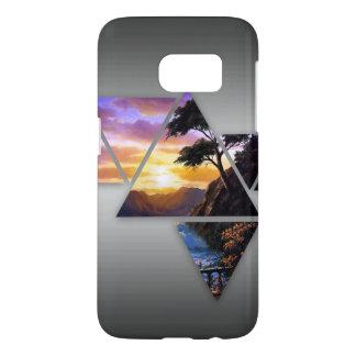 Funda Samsung Galaxy S7 Caso de la puesta del sol del triángulo (galaxia
