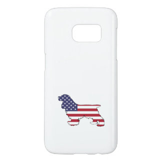 "Funda Samsung Galaxy S7 Cocker spaniel ""bandera americana """