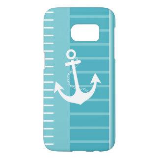 Funda Samsung Galaxy S7 Diseño blanco azul náutico de la raya