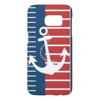 Funda Samsung Galaxy S7 Diseño rojo blanco azul náutico de la raya