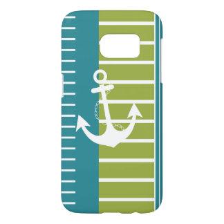 Funda Samsung Galaxy S7 Diseño verde blanco azul náutico de la raya