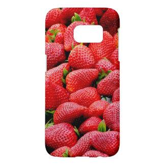 Funda Samsung Galaxy S7 fotografía rosada oscura deliciosa de las fresas