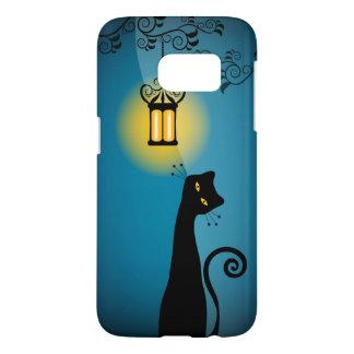 Funda Samsung Galaxy S7 Gato negro y linterna