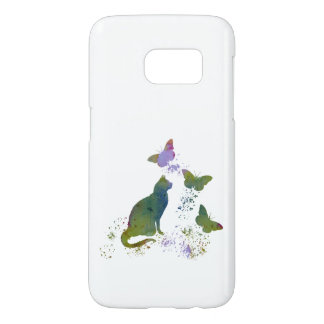 Funda Samsung Galaxy S7 Gato y mariposas