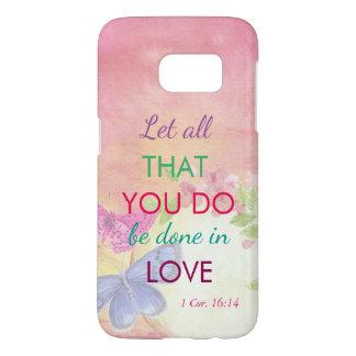 Funda Samsung Galaxy S7 Mariposas y flores en colores pastel (1 corazón.