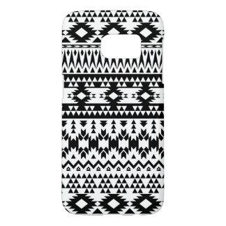 Funda Samsung Galaxy S7 Modelo geométrico azteca blanco y negro del vector