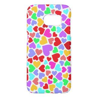Funda Samsung Galaxy S7 Modelos coloridos lindos de los corazones