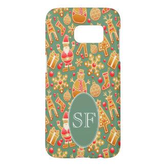 Funda Samsung Galaxy S7 Monograma festivo del pan de jengibre de Santa y