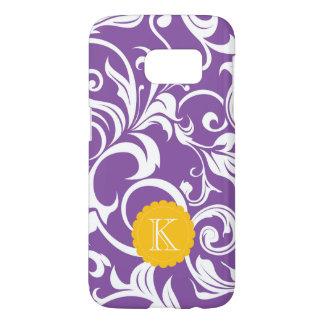 Funda Samsung Galaxy S7 Monograma púrpura bonito del remolino del papel