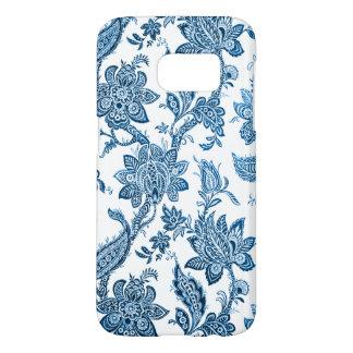 Funda Samsung Galaxy S7 Papel pintado floral azul y blanco del vintage