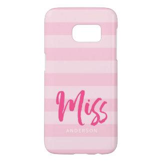 Funda Samsung Galaxy S7 Personalice con Srta. conocida Pink Stripes Preppy