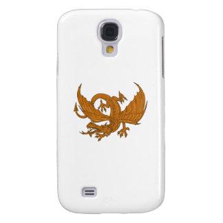 Funda Samsung S4 Dibujo que se agacha del dragón agresivo
