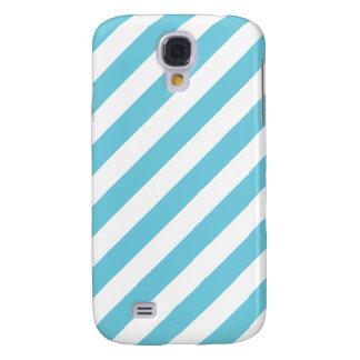 Funda Samsung S4 Modelo diagonal azul y blanco de las rayas