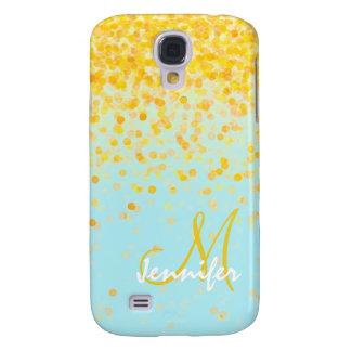 Funda Samsung S4 Nombre amarillo de oro femenino del ombre de la