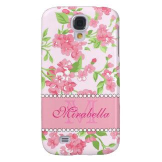 Funda Samsung S4 Nombre de ramas rosado del flor de la acuarela de