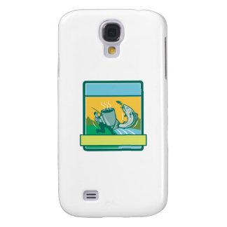 Funda Samsung S4 Rectángulo de color salmón de cogida de la taza
