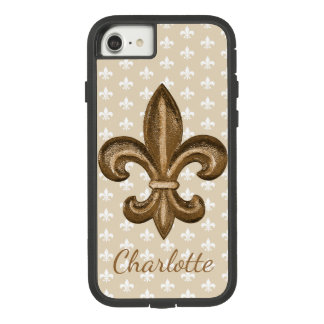 Funda Tough Extreme De Case-Mate Para iPhone 8/7 Flor de lis del oro de New Orleans del francés