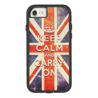 Funda Tough Extreme De Case-Mate Para iPhone 8/7 La bandera de Union Jack del vintage guarda calma