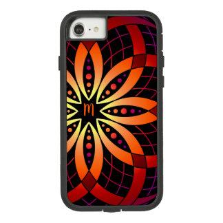 Funda Tough Extreme De Case-Mate Para iPhone 8/7 Mandala digital púrpura anaranjada del ombre del