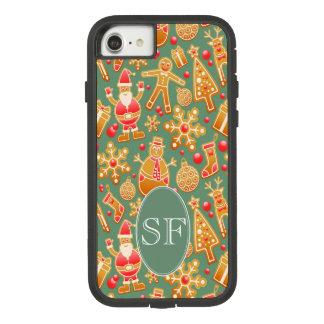 Funda Tough Extreme De Case-Mate Para iPhone 8/7 Monograma festivo del pan de jengibre de Santa y