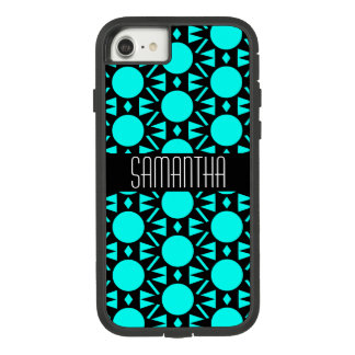 Funda Tough Extreme De Case-Mate Para iPhone 8/7 Negro y modelo geométrico azul de la aguamarina