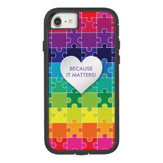 Funda Tough Extreme De Case-Mate Para iPhone 8/7 Pedazo colorido del rompecabezas de la conciencia