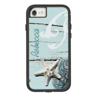 Funda Tough Extreme De Case-Mate Para iPhone 8/7 Seashells azules de las estrellas de mar de la