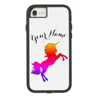 Funda Tough Extreme De Case-Mate Para iPhone 8/7 Unicornio del arco iris con nombre personalizado