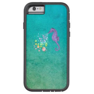 Funda Tough Xtreme iPhone 6 Burbujas del arco iris del Seahorse que soplan